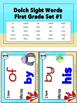 Sight Words First Grade Level Dolch Word List - I Have... Who Has? Game