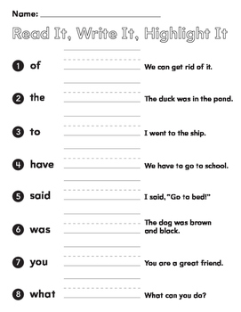 Sight Words First Grade Read it! Write it, Highlight it, (2 pages)