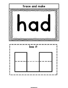 Sight Words First Grade List Set 1 (of, his, had, him) Interactive Notebook