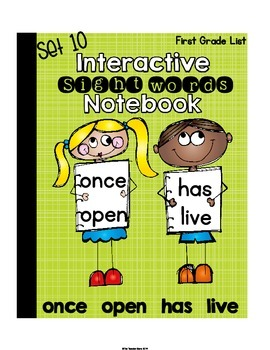 Sight Words Interactive Notebook First Grade List Set 10 (once, open, has, live)