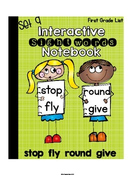 Sight Words Interactive Notebook First Grade List Set 9 (stop, fly, round, give)