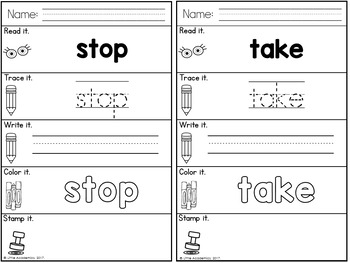 Sight Words First Grade Words