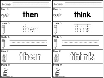 Sight Words First Grade Sight Words Worksheets
