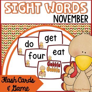 Sight Words Flash Cards & Game (November)