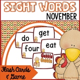 Fall Sight Words Flash Cards & Game (November)