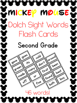 Sight Words Flash Cards -- Second Grade Dolch -- Mickey Mo