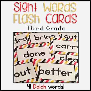 Dolch Sight Words Flash Cards for Third Grade -- Red, Yellow, Black Stripe