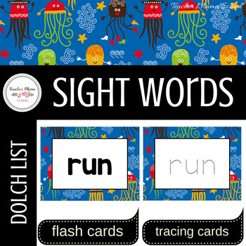 Word Wall Cards with Dolch Sight Words - Read and Trace {Blue Nautica}