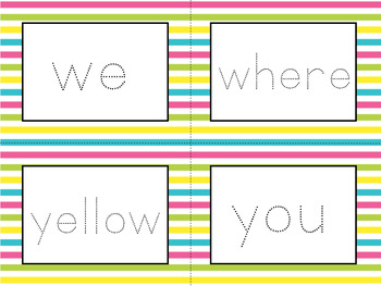 Word Wall Cards with Dolch Sight Words - Read and Trace {Colorful Stripes}