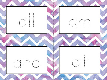 Word Wall Cards with Sight Words - Read and Trace {Watercolor Chevron}