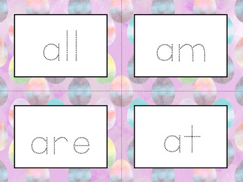 Word Wall Cards with Dolch Sight Words - Read and Trace {Watercolor Eggs}