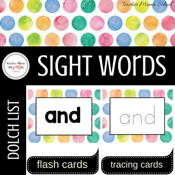 Word Wall Cards with Sight Words - Read and Trace {Watercolor Polka Dots}