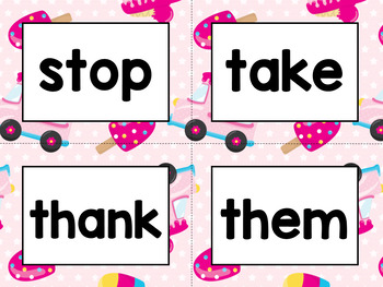Word Wall Cards with Dolch Sight Words - Read and Trace {Yummy Ice Cream}