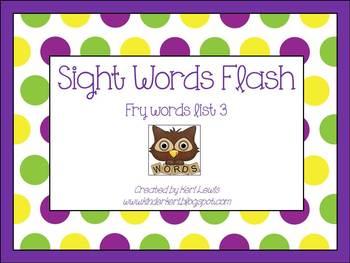 Sight Words Flash- Fry List 3 for kindergarten