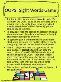Sight Words Flashcards and Games Pre-K through 3rd