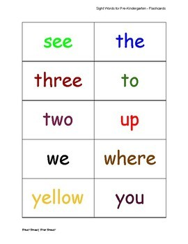 Sight Words Flashcards for Pre-K through 3rd Grade