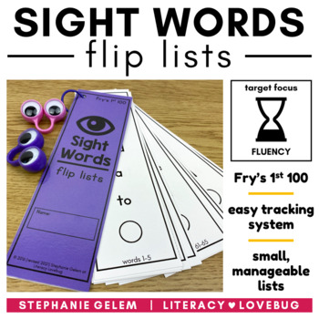 Sight Words Editable Flip Lists (Fry's First 100)