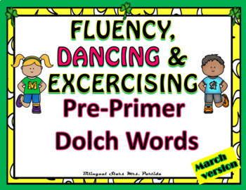 Sight Words Fluency  Dancing & Exercising Pre-Primer Dolch Words  Game March