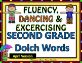 Sight Words Fluency Dancing & Exercising SECOND GRADE Dolch WordsGame Spring