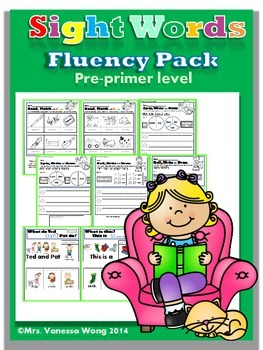 Sight Words Fluency Pack-  Pre-primer level