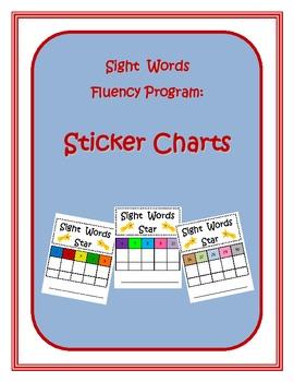 Sight Words Fluency Program Sticker Charts