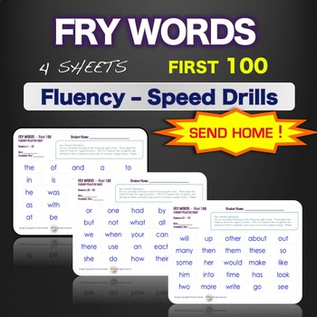 Sight Words - Fluency - Speed Drill *Fry Words 1-100*  Centers or Home Sheets