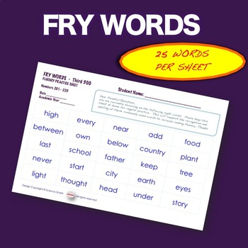 Sight Words - Fluency - Speed Drill *Fry Words 1-500*  ELA Centers or send Home