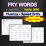 Sight Words - Fluency - Speed Drill *Fry Words 201-300*  Centers or Home Sheets