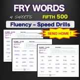 Sight Words - Fluency - Speed Drill *Fry Words 401-500*  Centers or Home Sheets