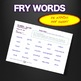 Sight Words - Fluency - Speed Drill *Fry Words 501-600*  Centers or Home Sheets
