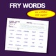 Sight Words - Fluency - Speed Drill *Fry Words 601-1000*  (Weekly Word Packs)
