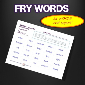 Sight Words - Fluency - Speed Drill *Fry Words 601-700*  Centers or Home Sheets