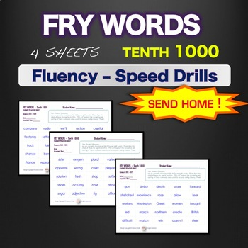 Sight Words - Fluency - Speed Drill *Fry Words 901-1000*  Centers or Home Sheets