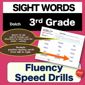 Sight Words - Fluency Speed Sheets - 3rd GRADE - Pre K-3 - Dolch