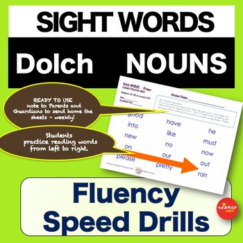 Sight Words - Fluency Speed Sheets - NOUNS - Pre K-3 - Dolch