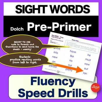 Sight Words - Fluency Speed Sheets - Pre Primer - Pre K - Dolch