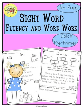 Sight Words Fluency and Word Work       Dolch Pre-Primer