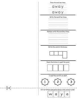 Sight Word Foldables: PK All 40 words from the Dolch Sight Words Pre-K List