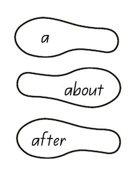 Sight Words Foot Prints - Queensland Font