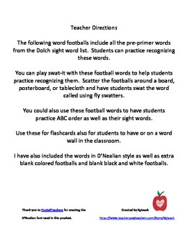 Sight Words - Football