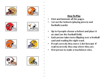 Sight Words Football