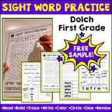 Sight Words Dolch First Grade Practice Worksheets FREE