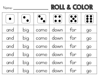 Sight Words Freebie: Roll and Color