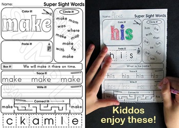 Sight Words - Word Wall Words and Worksheets - Fry Words Vol 3