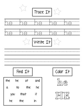Sight Words (Fry List) Practice Page