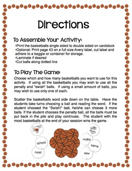 Sight Words - Fry- Swish!  A Basketball Game