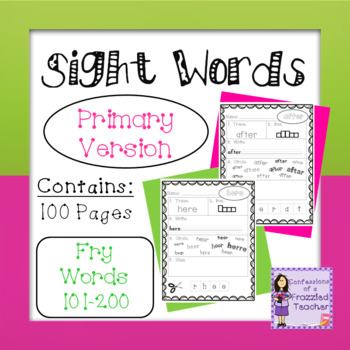 Sight Words - Fry Words: 101-200 - Primary Version