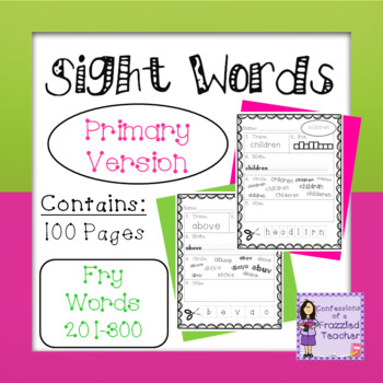 Sight Words - Fry Words: 201-300 - Primary Version