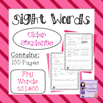 Sight Words - Fry Words: 201-300 - Older Student Version