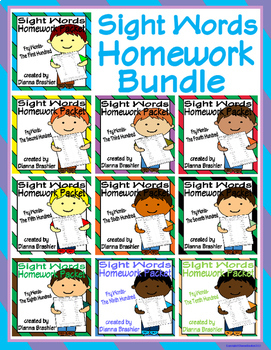 Sight Words (Fry Words)- Complete Word List Homework Packet Bundled
